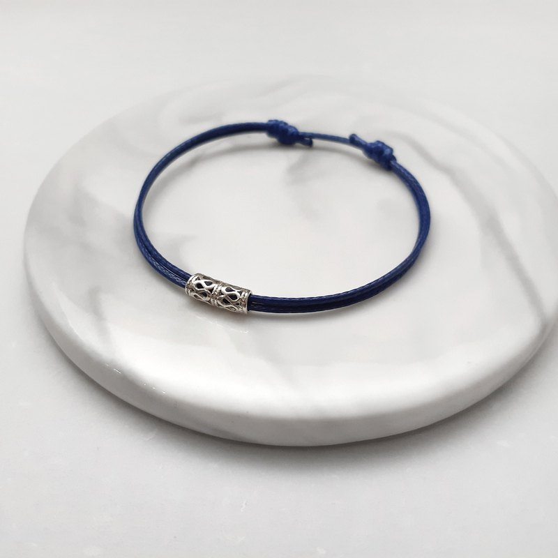 Wax bracelet s925 sterling silver hollow silver tube plain simple wax rope thin line