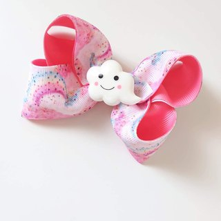 Bonbon Baby Pink Rainbow Cloud Bow Hair Clip