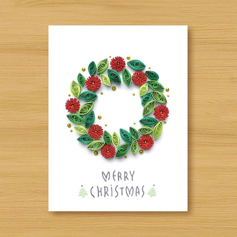 ( 2款供選擇 ) 手工捲紙卡片 _ 花草漫遊聖誕 - 花圈、聖誕樹