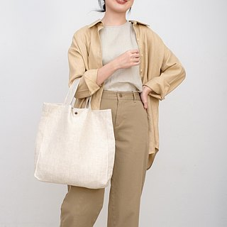 Casual Linen Tote Bag (Beige)