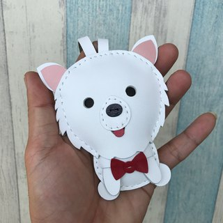Handmade leather white cute Pomeranian hand-stitched leather charm large size