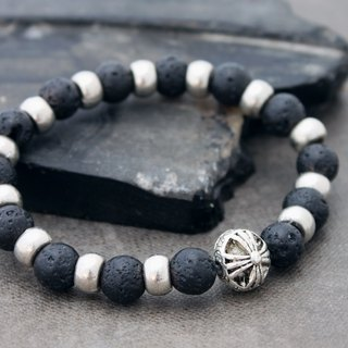 Lava Rock Beaded Bracelets Silver Chrome Charm Men Women