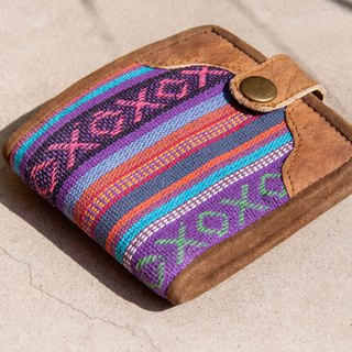 Hand-knitted stitching leather short clip short wallet purse woven short clip-national wind purple magic