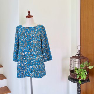 Blouse Three Quarter Sleeve Blue Indonesian Fabric