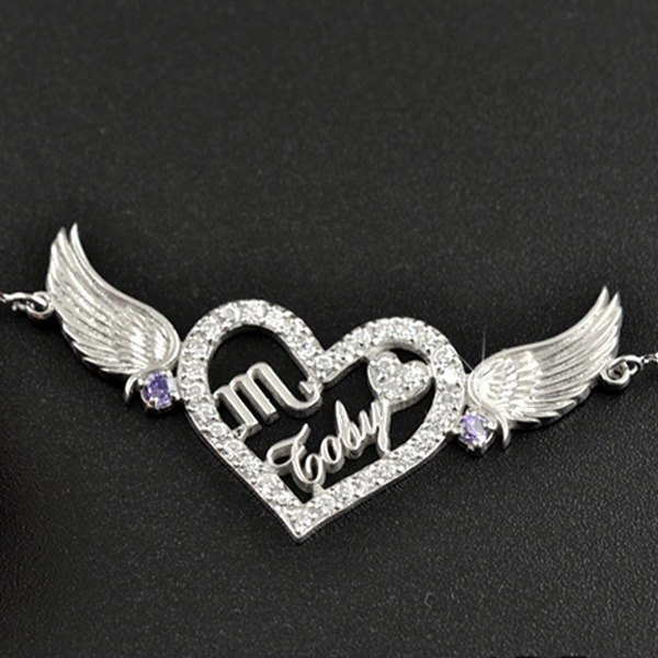 Customized heart .925 sterling silver jewelry AH00002- Angel Necklace