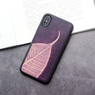 Deep purple Bodhi leaf iphone leather phone case 6s 7 8 plus x xs max xr Customized