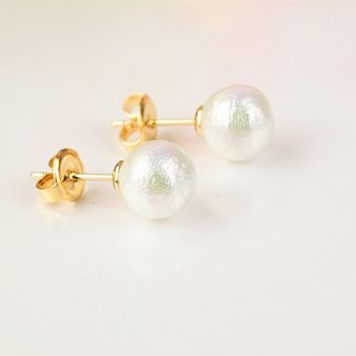 Wake up at night in the summer - cotton pearl earrings 14K gold simple models (ear clip can be changed paragraph)