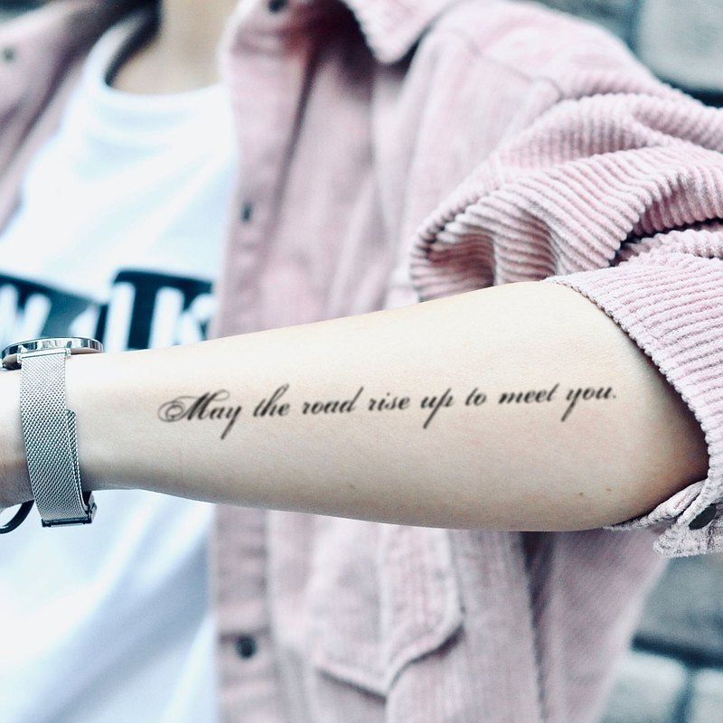 "OhMyTat ""願你的道路崛起"" 愛爾蘭祝福語刺青圖案紋身貼紙 (2 張)"