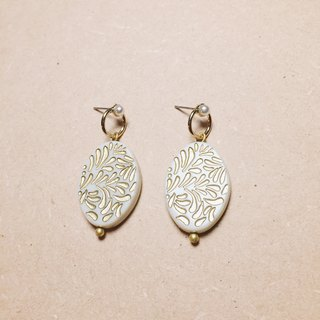 Vintage Openwork Pearl Carved White Oval Earrings