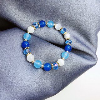 Frosted Colored Tree Blue Chalcedony Bracelet