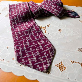 Dark red. Geometric hand-painted lines printed silk narrow version of the tie Lancel Paris #Vintage # Vintage # Wan Er