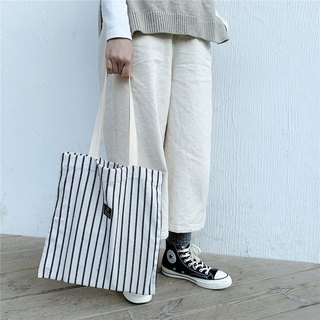 Mingen Handiwork Japanese small fresh stripe control canvas bag BB18002