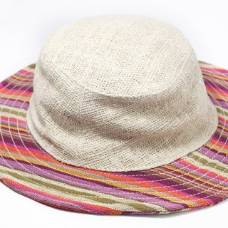 Ethnic stitching hand-woven cotton hat / knitted hat / hat - Tropical ethnic stripe color (limit one)