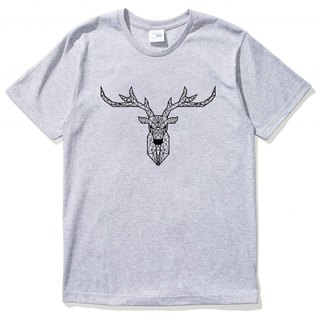 Deer Geometric Short Sleeve T-Shirt Gray Geometry Deer Universe Design Brand Milky Way Trendy Rounded Triangle
