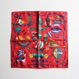 A ROOM MODEL - VINTAGE, PA-0052 HERMES scarf red hot air balloon
