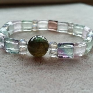 Customized, cut fluorite with long stone bracelet Flourite and labradorite bracelet