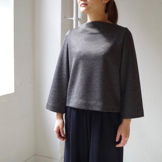 [Made in Japan] Ribnit double face boat neck pullover - dark gray