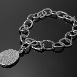 ReShi / neutral fingerprint oval thick bracelet / 925 sterling silver / fingerprint silver / custom handmade / lover family gifts