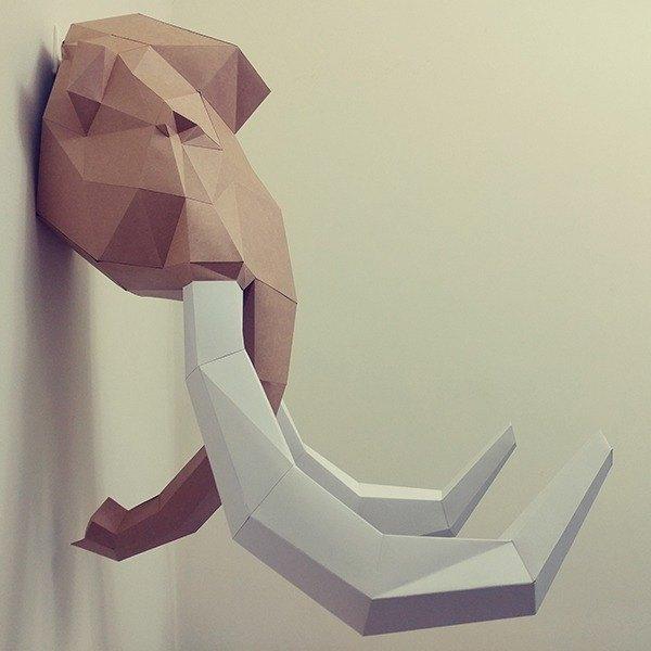 正版匠紙_DIY 材料_紙模型_禮物_手作_傳奇猛瑪象壁飾