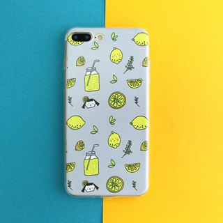 Iphone phone shell series <gray bottom lemon>