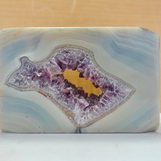Wisdom of the window | natural Brazilian agate symbiotic amethyst square cut ore ornaments