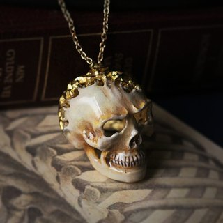 Flowers Graphic Human Skull Necklace,Textured Human skull Necklace,Skull Pendant,Skull Jewelry