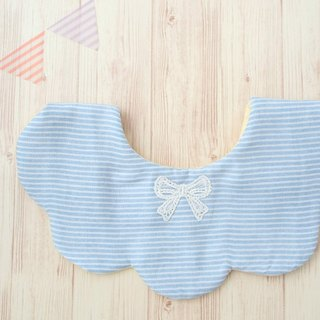 BABY GIRL BIB, Scalloped Bib, Reversible, Japanese Double Gauze, Blue, Yellow