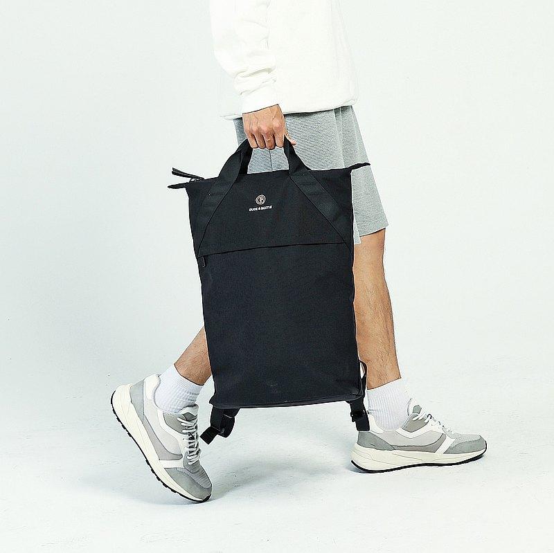 香港品牌 防潑水 筆電 手提後背包 戶外簡約 - Knob 黑色