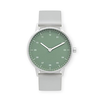 BIJOUONE B40 SILVER WATCH ON RUBBER STRAP, GREEN