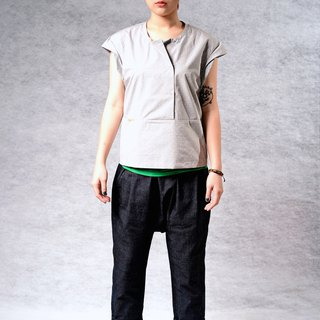 Fresh and simple stitching*Sleeve multi-fold*Line design (gray / white 2 colors)