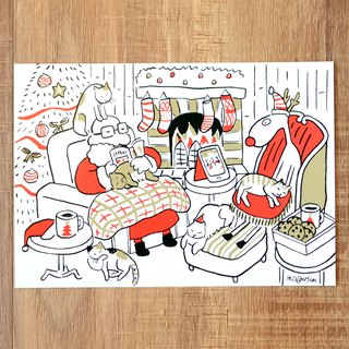 Christmas Card - New 2018 Santa Claus and Elk Daily Postcard No. 15: Cat House