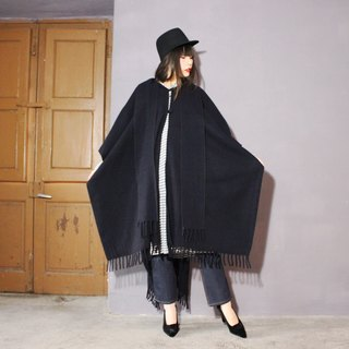 [Vintage cape] (Made in Italy) Deep blue wool large wave design Vintage cloak coat F3102 (Christmas gift)