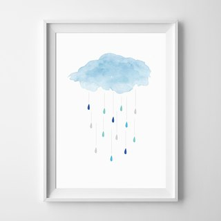 Cloud and rain customizable posters