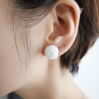 Pure white hand-knit lace ball earrings