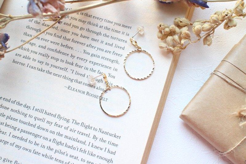 雙圓 -黃銅耳環-可改夾