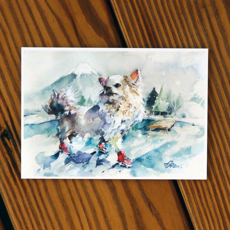 水彩繪毛孩系列明信片 - 不溜我我自溜