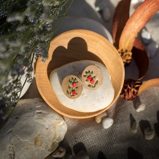 Eco-friendly leather earring with embroidery red rose bush (silver post)