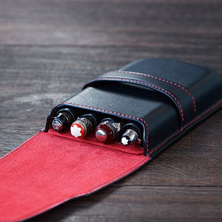 Fountain pen case inserted four wine colors