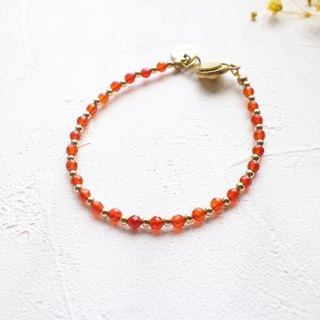 The red- red agate brass bracelet