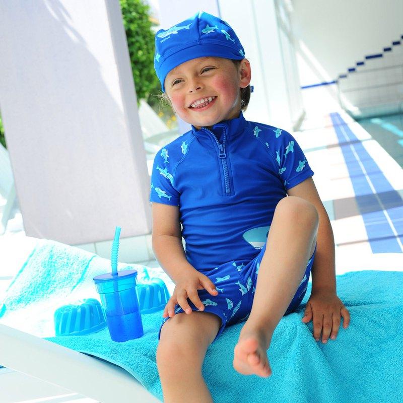 德國PlayShoes 抗UV防曬短袖兩件組兒童泳裝-鯊魚