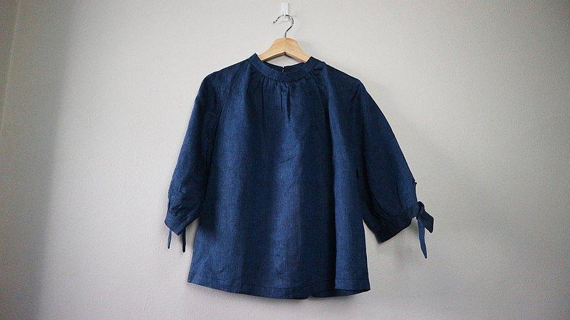 深藍寶石色Sheintieoff女式襯衫