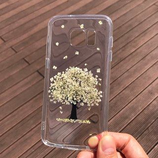 Samsung Galaxy S7 Handmade Pressed Flowers Case White Tree case 026