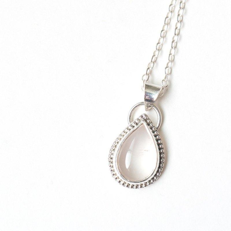 粉水晶純銀墬 Rose quartz silver pendant