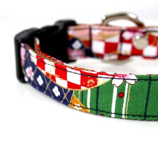 Kabuki Japanese pattern small dog collar S size
