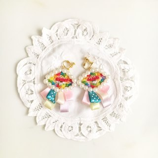(Christmas gift exchange) Independent Original Series · Mushrooms Mushroom Ribbon embroidery earrings