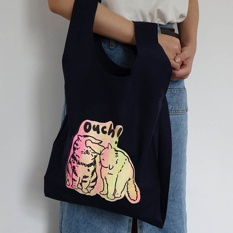 Hand brush smudge OUCH cat navy blue cotton vest bag