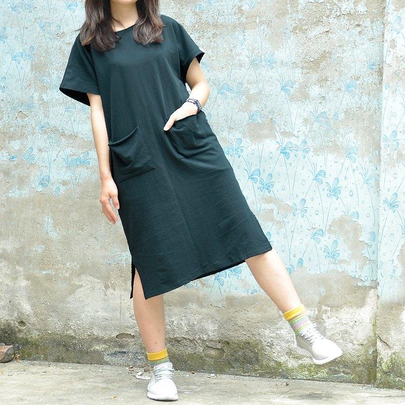 無拘束棉質長版落肩洋裝 古著寬版雙口袋連身裙-黛綠色