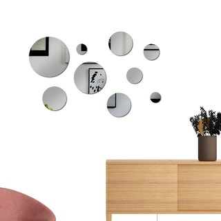 HomePlus Acrylic Mirror decoration Gray 9PCS With Circle