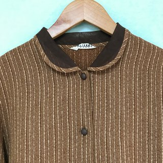Top / Brown Stripe Long-sleeves Blouse