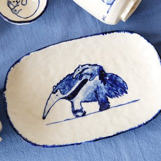 Anteater Beast Hands Kissing Hand-painted White Pottery Plate